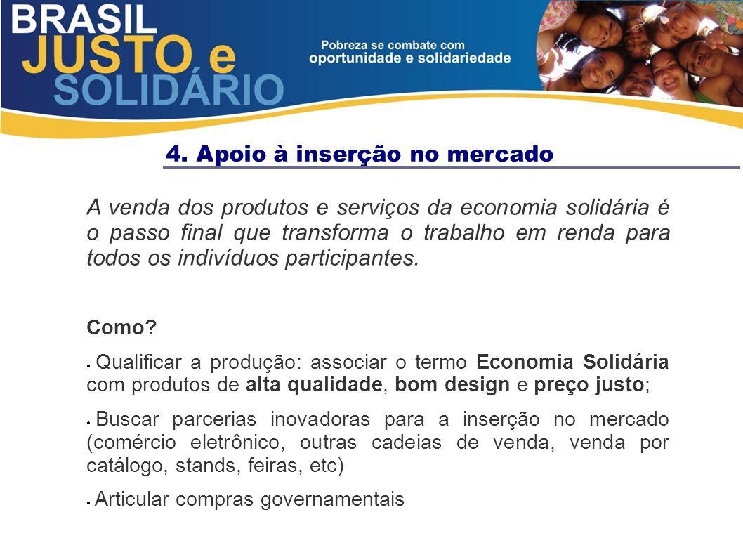 4. Apoio à inserção no mercado A venda dos produtos e serviços da economia solidária é o passo final que transforma o trabalho em renda para todos os