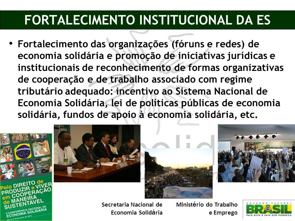 Secretaria Nacional de Economia Solid á ria Minist é rio do Trabalho e Emprego FORTALECIMENTO INSTITUCIONAL DA ES Fortalecimento das organizações (fór