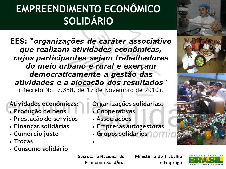 Secretaria Nacional de Economia Solid á ria Minist é rio do Trabalho e Emprego EES: organizações de caráter associativo que realizam atividades econôm