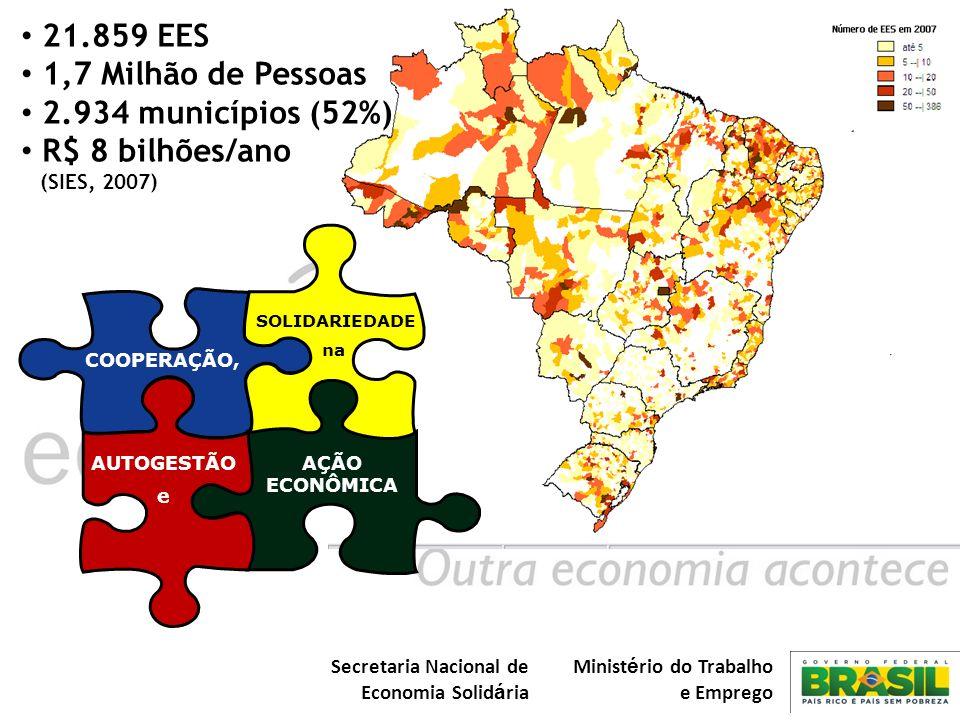 Secretaria Nacional de Economia Solid á ria Minist é rio do Trabalho e Emprego COOPERAÇÃO, AÇÃO ECONÔMICA SOLIDARIEDADE na AUTOGESTÃO e 21.859 EES 1,7