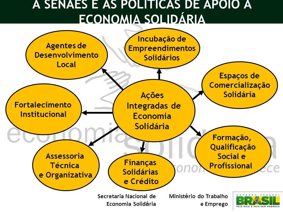 Secretaria Nacional de Economia Solid á ria Minist é rio do Trabalho e Emprego A SENAES E AS POLÍTICAS DE APOIO A ECONOMIA SOLIDÁRIA Espaços de Comerc