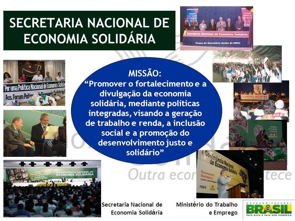 Secretaria Nacional de Economia Solid á ria Minist é rio do Trabalho e Emprego MISSÃO: Promover o fortalecimento e a divulgação da economia solidária,