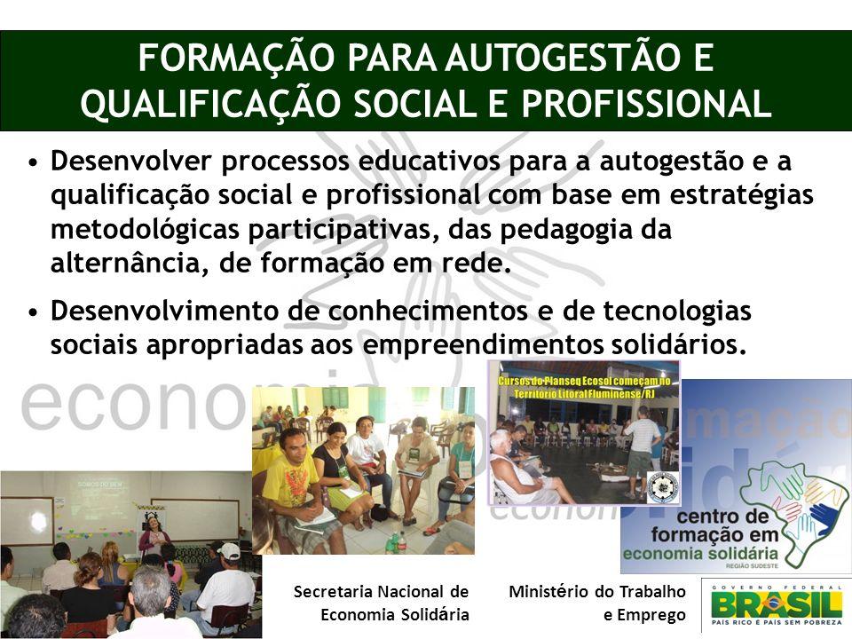 Secretaria Nacional de Economia Solid á ria Minist é rio do Trabalho e Emprego FORMAÇÃO PARA AUTOGESTÃO E QUALIFICAÇÃO SOCIAL E PROFISSIONAL Desenvolv