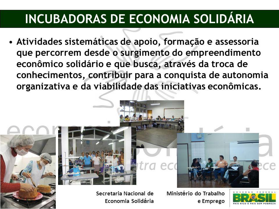 Secretaria Nacional de Economia Solid á ria Minist é rio do Trabalho e Emprego INCUBADORAS DE ECONOMIA SOLIDÁRIA Atividades sistemáticas de apoio, for