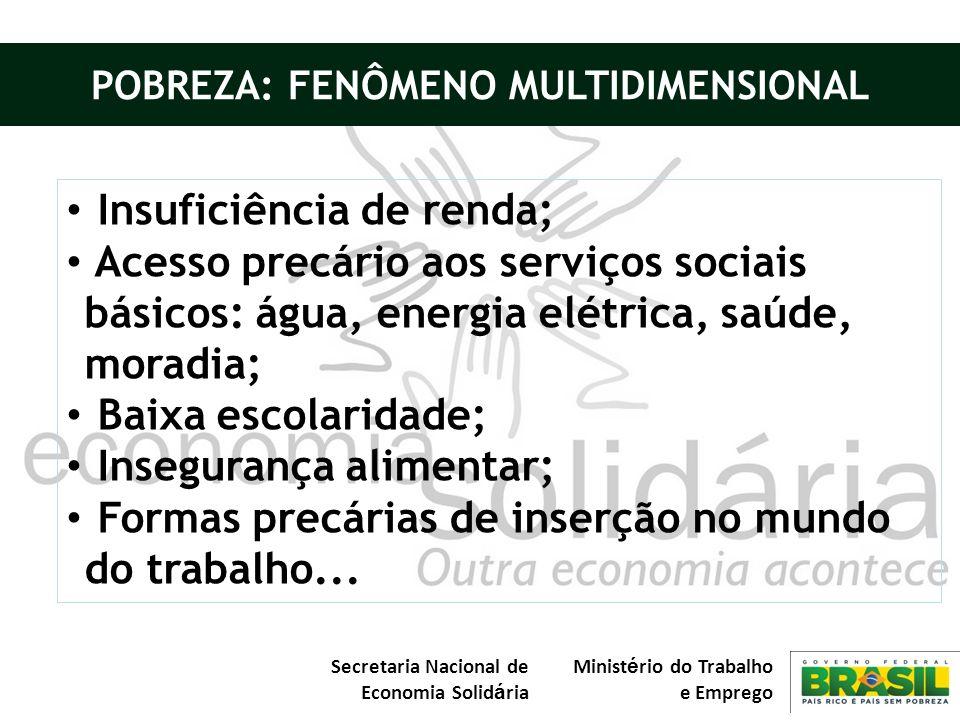 Secretaria Nacional de Economia Solid á ria Minist é rio do Trabalho e Emprego Insuficiência de renda; Acesso precário aos serviços sociais básicos: á