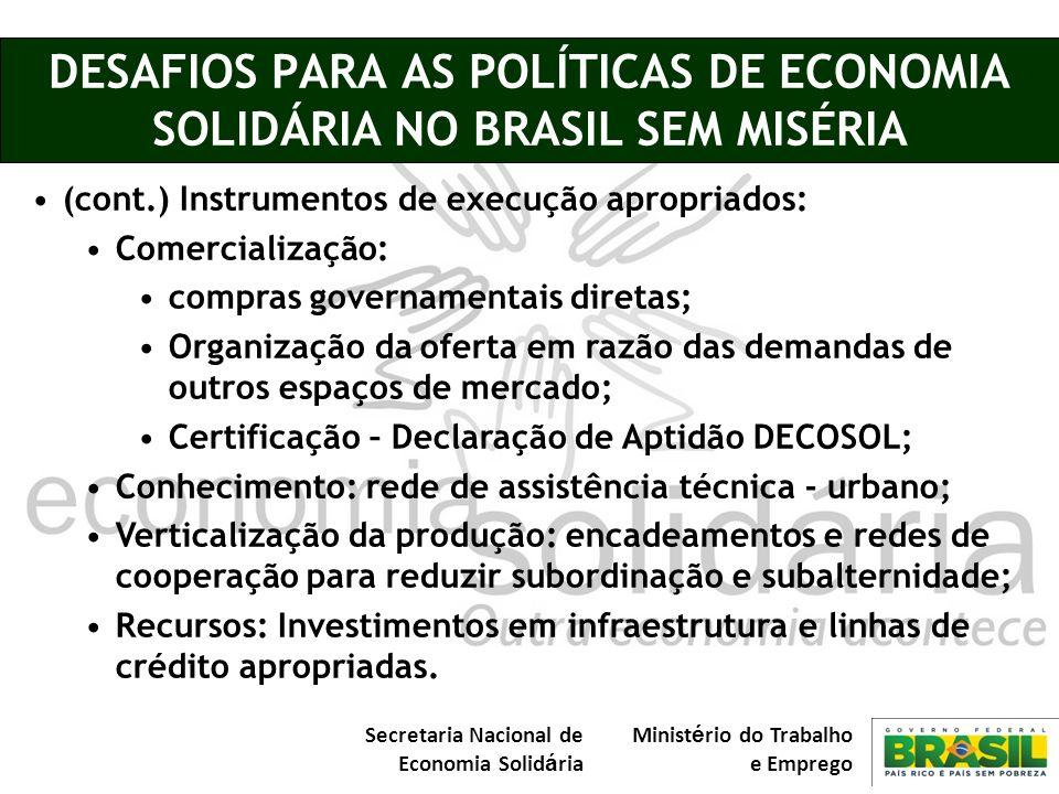 Secretaria Nacional de Economia Solid á ria Minist é rio do Trabalho e Emprego DESAFIOS PARA AS POLÍTICAS DE ECONOMIA SOLIDÁRIA NO BRASIL SEM MISÉRIA