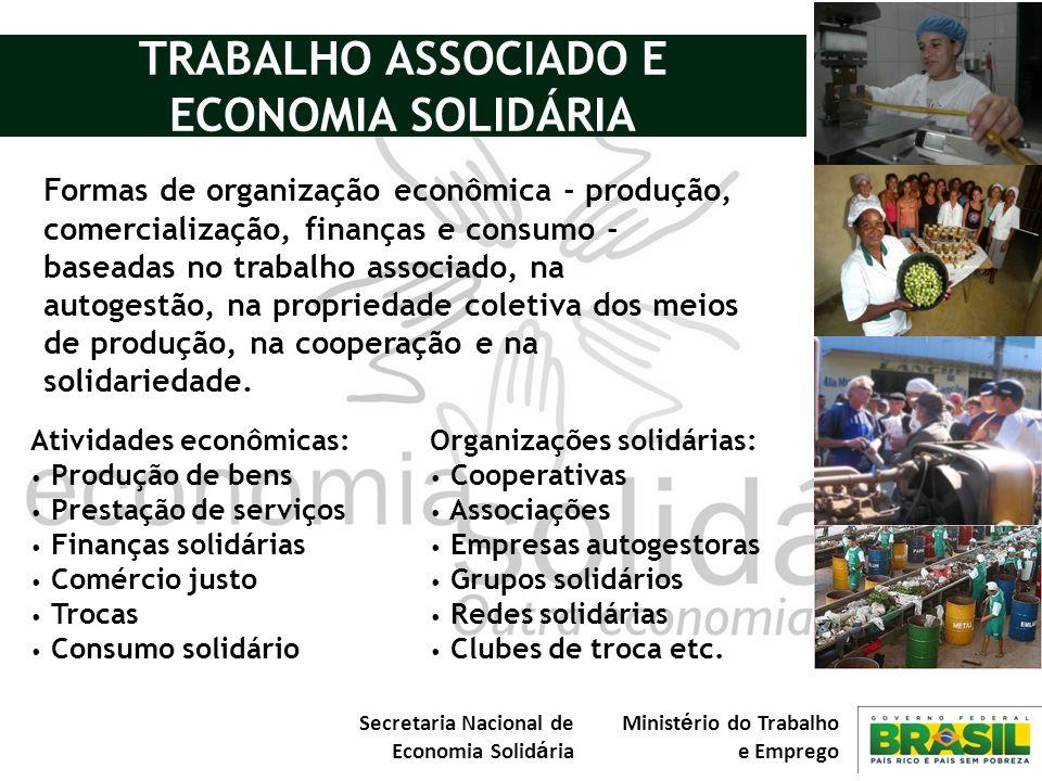 Secretaria Nacional de Economia Solid á ria Minist é rio do Trabalho e Emprego COOPERAÇÃO, AÇÃO ECONÔMICA SOLIDARIEDADE na AUTOGESTÃO e 21.859 EES 1,7 Milhão de Pessoas 2.934 municípios (52%) R$ 8 bilhões/ano (SIES, 2007)