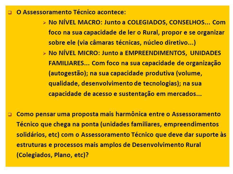 O Assessoramento Técnico acontece: No NÍVEL MACRO: Junto a COLEGIADOS, CONSELHOS...