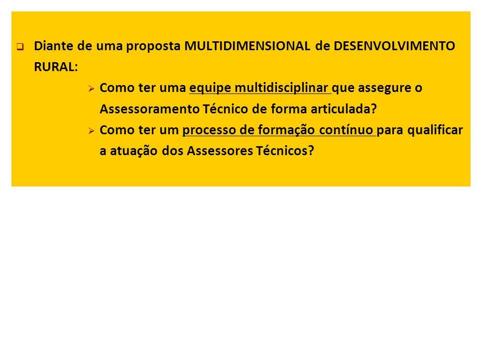 Diante de uma proposta MULTIDIMENSIONAL de DESENVOLVIMENTO RURAL: Como ter uma equipe multidisciplinar que assegure o Assessoramento Técnico de forma articulada.