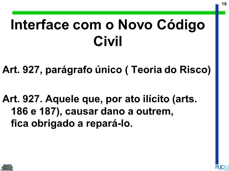 16 Interface com o Novo Código Civil Art. 927, parágrafo único ( Teoria do Risco) Art. 927. Aquele que, por ato ilícito (arts. 186 e 187), causar dano