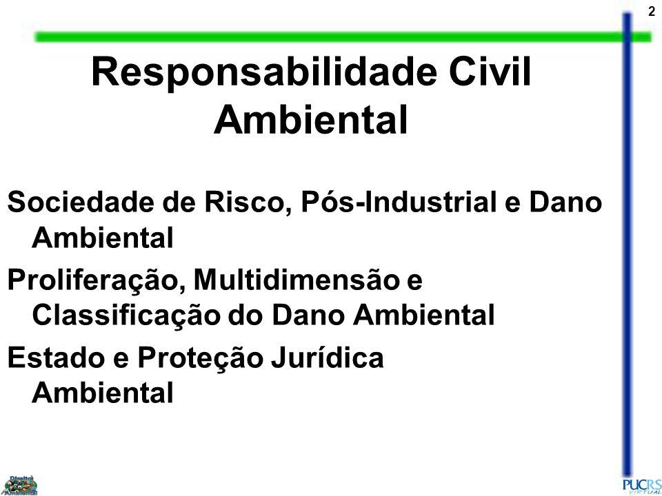 3 Evolução da Responsabilidade Civil Ambiental na Sociedade de Risco Funções da Responsabilidade Civil Ambiental Sistema Normativo da Responsabilidade Civil Ambiental Responsabilidade Civil Ambiental