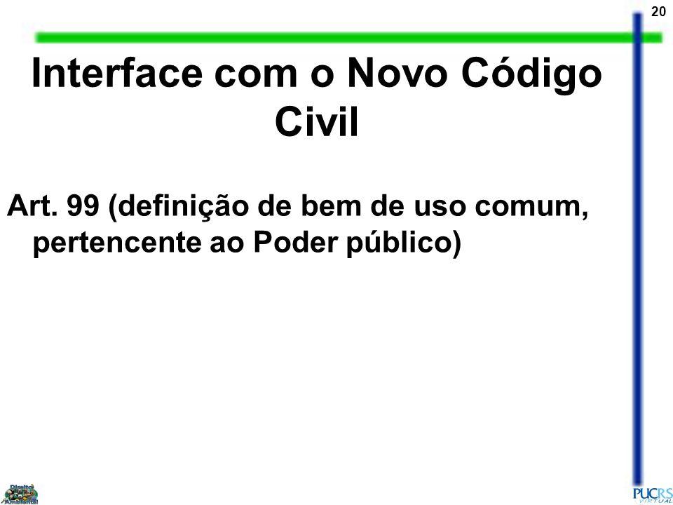20 Art. 99 (definição de bem de uso comum, pertencente ao Poder público) Interface com o Novo Código Civil