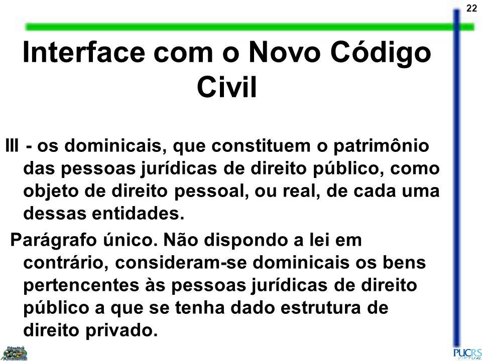 22 III - os dominicais, que constituem o patrimônio das pessoas jurídicas de direito público, como objeto de direito pessoal, ou real, de cada uma des