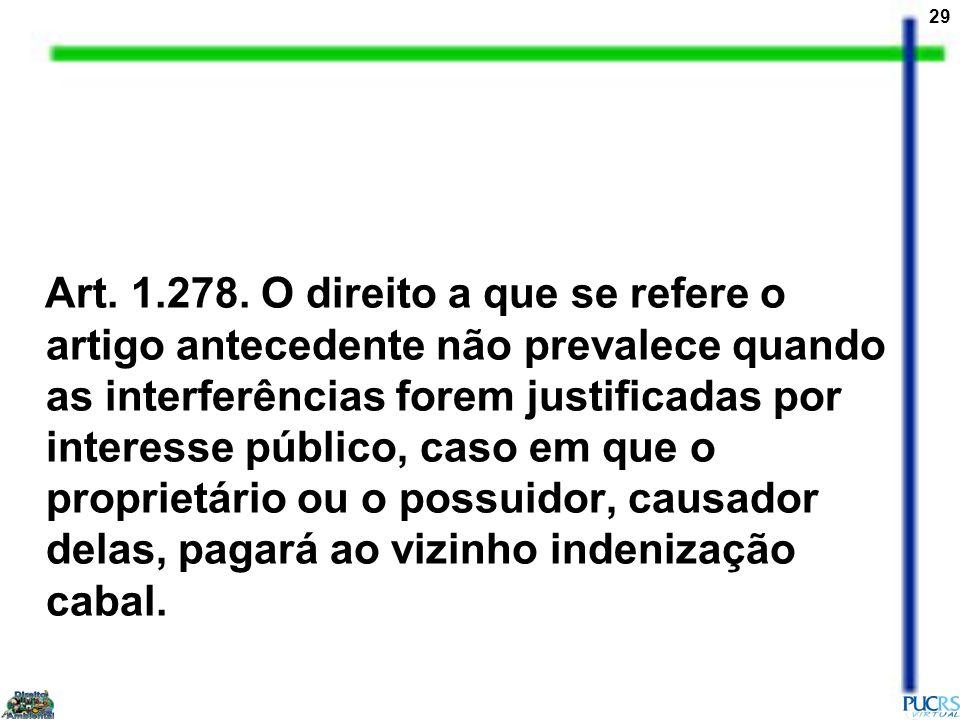 29 Art. 1.278. O direito a que se refere o artigo antecedente não prevalece quando as interferências forem justificadas por interesse público, caso em