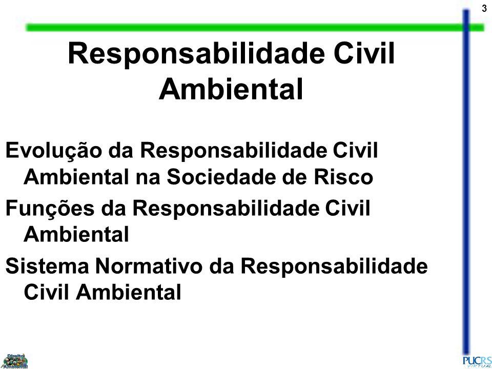 3 Evolução da Responsabilidade Civil Ambiental na Sociedade de Risco Funções da Responsabilidade Civil Ambiental Sistema Normativo da Responsabilidade