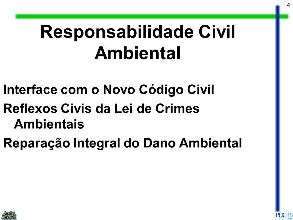 5 Compensação Ecológica, Definições e Parâmetros Dano Moral Ambiental Condições para Imputação do Dano Ambiental (nexo de causalidade, tolerabilidade, prescrição, omissão e Resp.do Estado) Responsabilidade Civil Ambiental