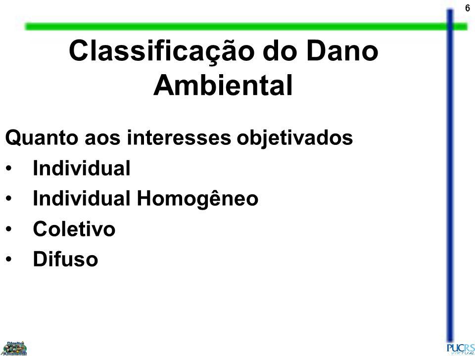 7 Quanto a reparabilidade e ao interesse envolvido Dano Ambiental de reparabilidade direta Dano ambiental de reparabilidade indireta Classificação do Dano Ambiental