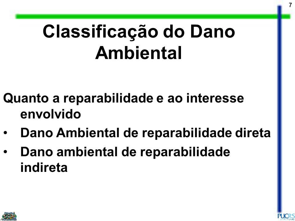 7 Quanto a reparabilidade e ao interesse envolvido Dano Ambiental de reparabilidade direta Dano ambiental de reparabilidade indireta Classificação do