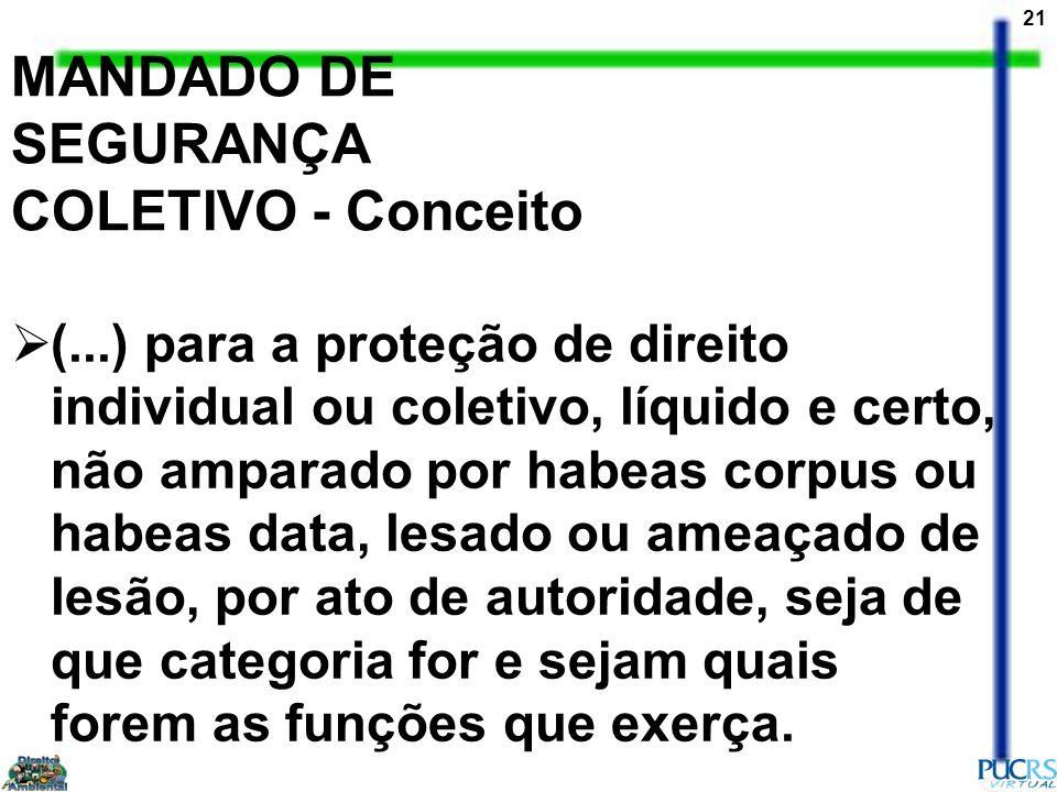 21 MANDADO DE SEGURANÇA COLETIVO - Conceito (...) para a proteção de direito individual ou coletivo, líquido e certo, não amparado por habeas corpus o