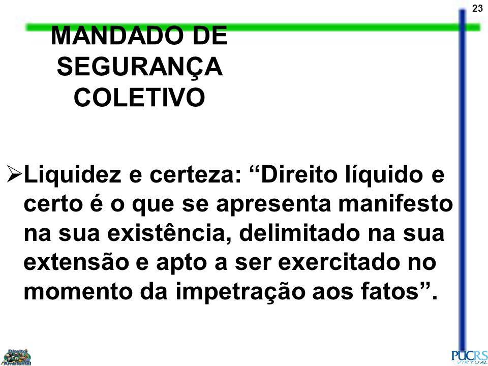 23 MANDADO DE SEGURANÇA COLETIVO Liquidez e certeza: Direito líquido e certo é o que se apresenta manifesto na sua existência, delimitado na sua exten