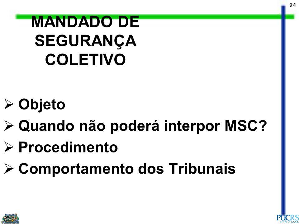24 MANDADO DE SEGURANÇA COLETIVO Objeto Quando não poderá interpor MSC? Procedimento Comportamento dos Tribunais