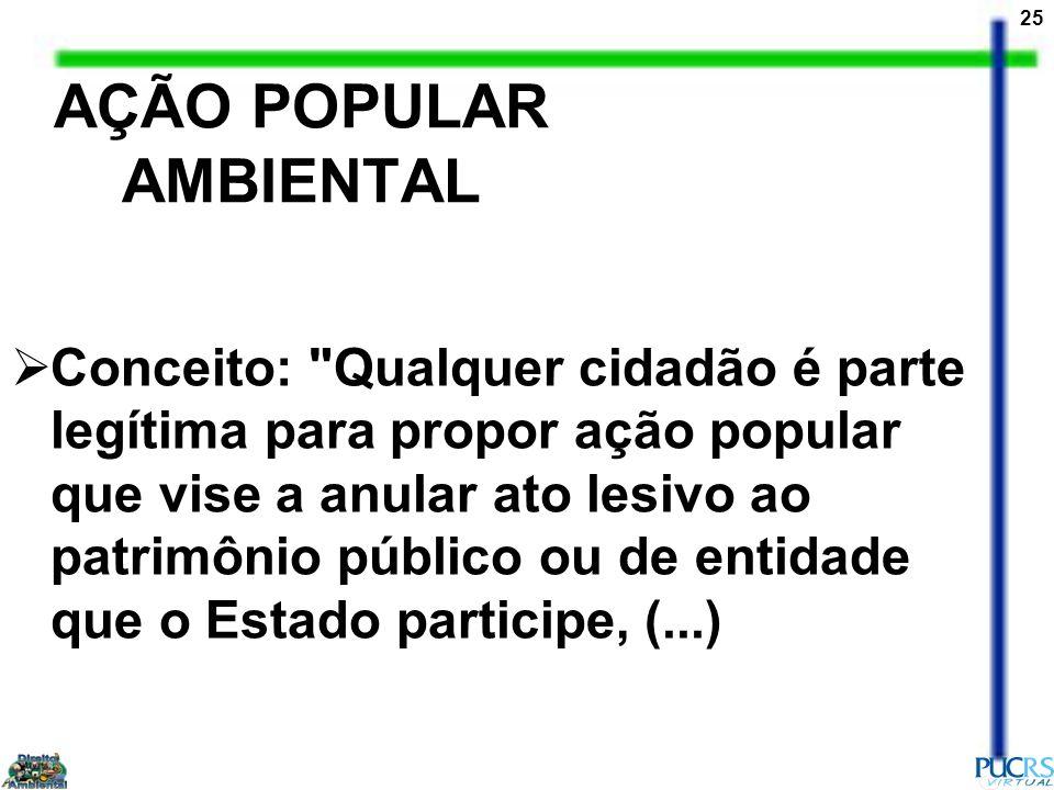 25 AÇÃO POPULAR AMBIENTAL Conceito: