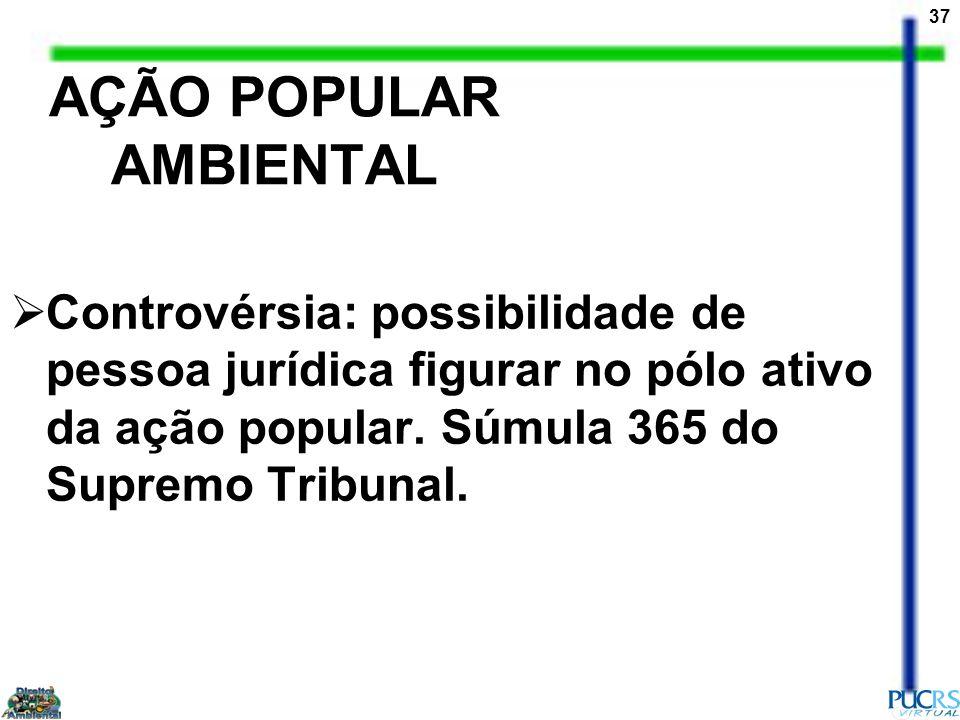 37 AÇÃO POPULAR AMBIENTAL Controvérsia: possibilidade de pessoa jurídica figurar no pólo ativo da ação popular. Súmula 365 do Supremo Tribunal.