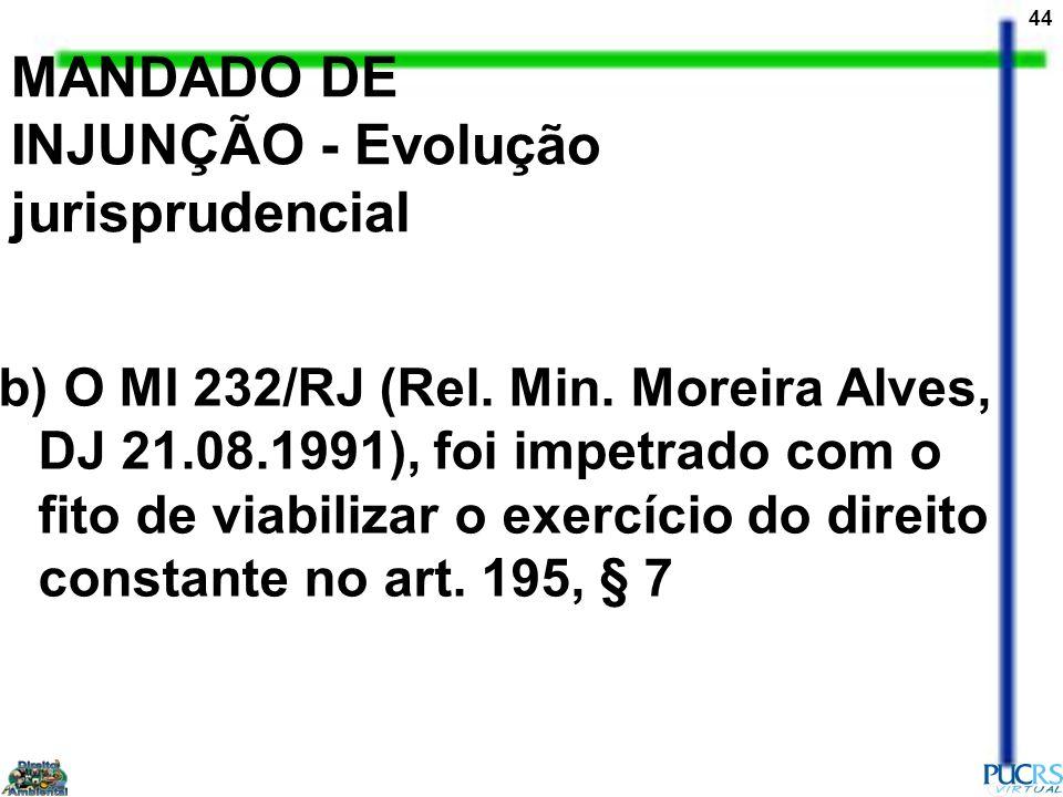 44 MANDADO DE INJUNÇÃO - Evolução jurisprudencial b) O MI 232/RJ (Rel. Min. Moreira Alves, DJ 21.08.1991), foi impetrado com o fito de viabilizar o ex