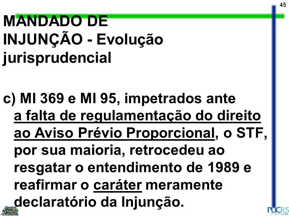 45 MANDADO DE INJUNÇÃO - Evolução jurisprudencial c) MI 369 e MI 95, impetrados ante a falta de regulamentação do direito ao Aviso Prévio Proporcional