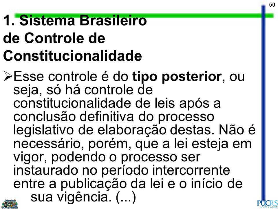 50 1. Sistema Brasileiro de Controle de Constitucionalidade Esse controle é do tipo posterior, ou seja, só há controle de constitucionalidade de leis