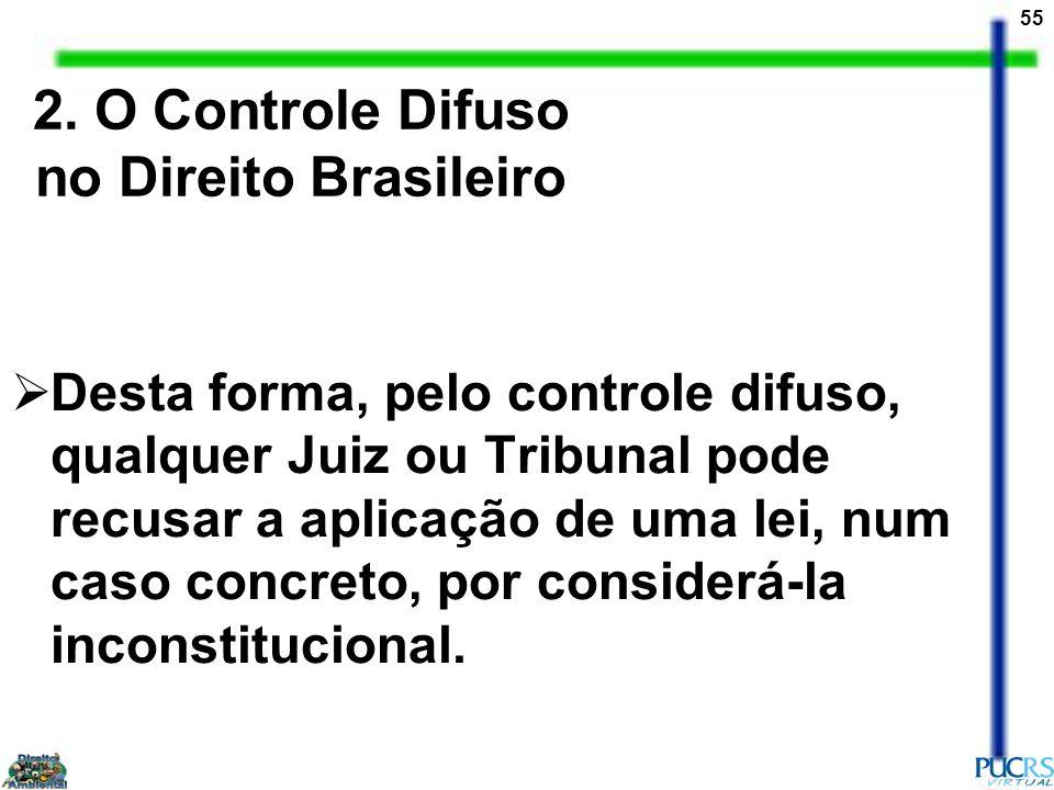 55 2. O Controle Difuso no Direito Brasileiro Desta forma, pelo controle difuso, qualquer Juiz ou Tribunal pode recusar a aplicação de uma lei, num ca