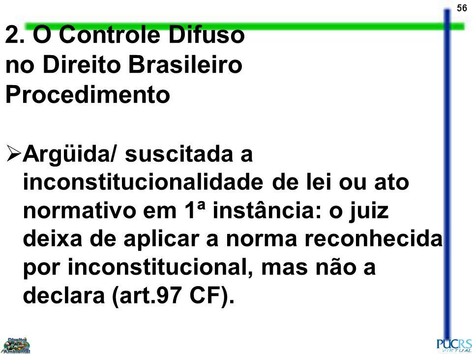 56 2. O Controle Difuso no Direito Brasileiro Procedimento Argüida/ suscitada a inconstitucionalidade de lei ou ato normativo em 1ª instância: o juiz