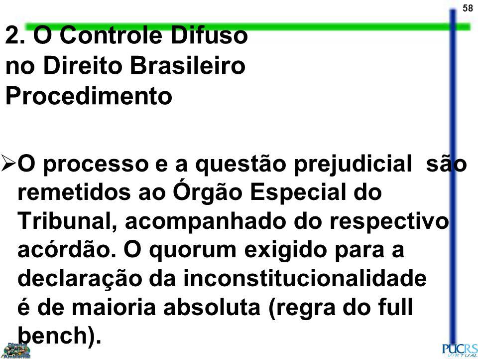 58 2. O Controle Difuso no Direito Brasileiro Procedimento O processo e a questão prejudicial são remetidos ao Órgão Especial do Tribunal, acompanhado