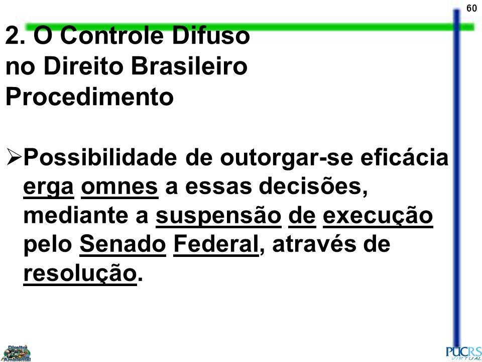 60 2. O Controle Difuso no Direito Brasileiro Procedimento Possibilidade de outorgar-se eficácia erga omnes a essas decisões, mediante a suspensão de