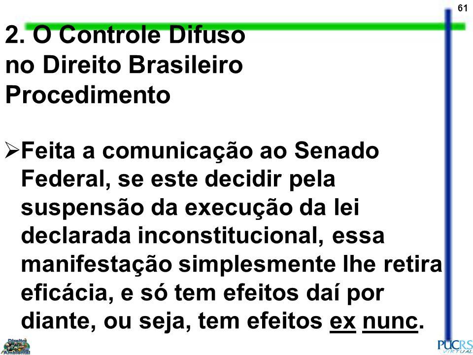 61 2. O Controle Difuso no Direito Brasileiro Procedimento Feita a comunicação ao Senado Federal, se este decidir pela suspensão da execução da lei de