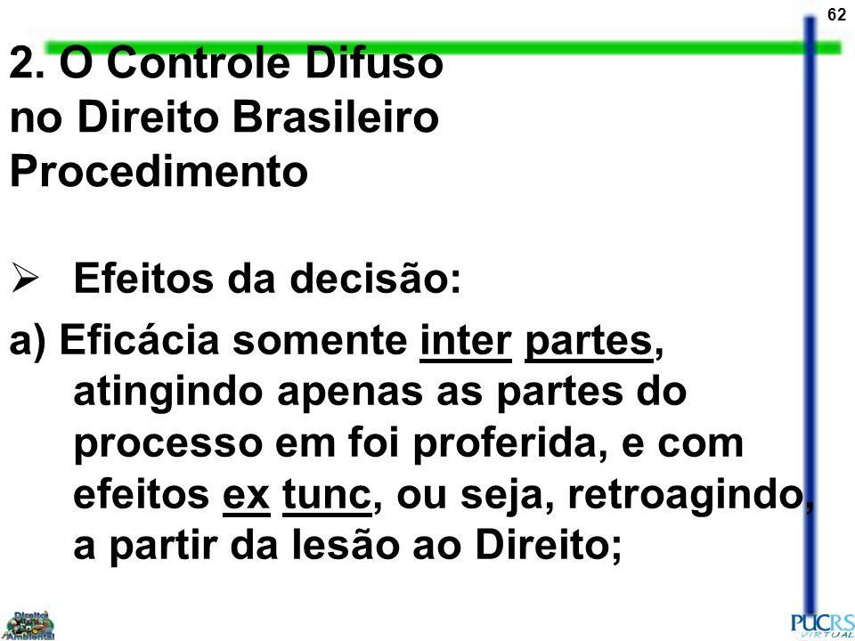 62 2. O Controle Difuso no Direito Brasileiro Procedimento Efeitos da decisão: a) Eficácia somente inter partes, atingindo apenas as partes do process