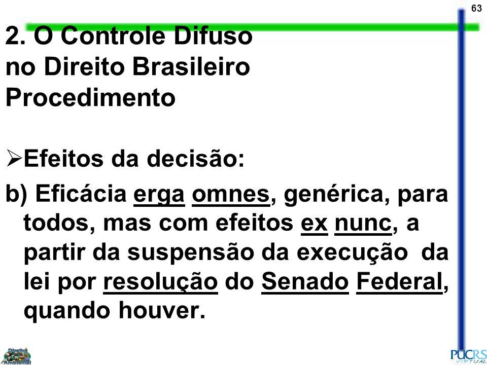 63 2. O Controle Difuso no Direito Brasileiro Procedimento Efeitos da decisão: b) Eficácia erga omnes, genérica, para todos, mas com efeitos ex nunc,