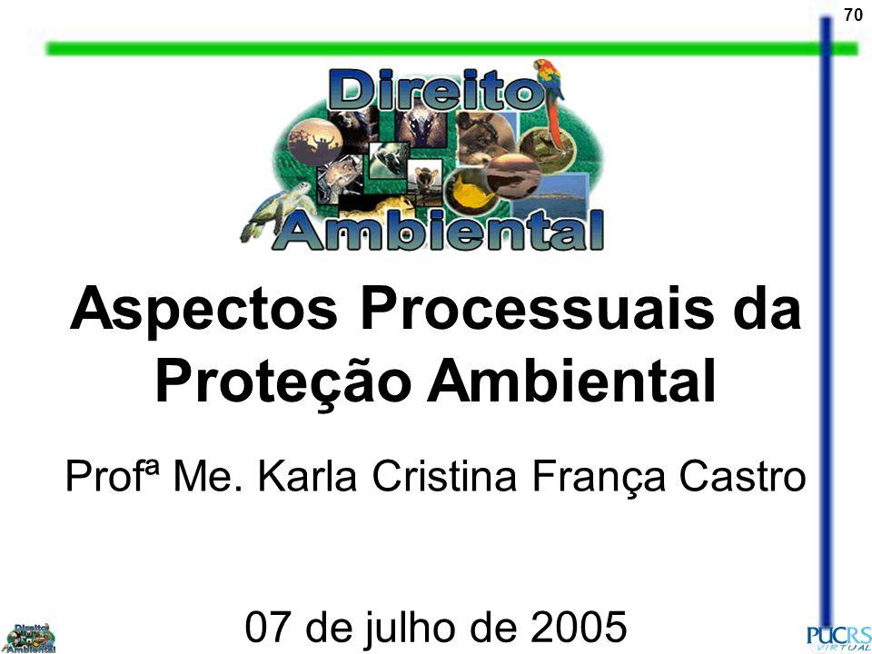 70 Aspectos Processuais da Proteção Ambiental Profª Me. Karla Cristina França Castro 07 de julho de 2005