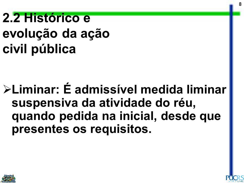29 AÇÃO POPULAR AMBIENTAL - Histórico A Constituição de 1934 Ditadura de Getúlio Vargas Constituição Federal de 1946 = ampliação do objeto da ação popular Constituição Federal de 1967 Lei nº 4717 de 29 de julho de 1965