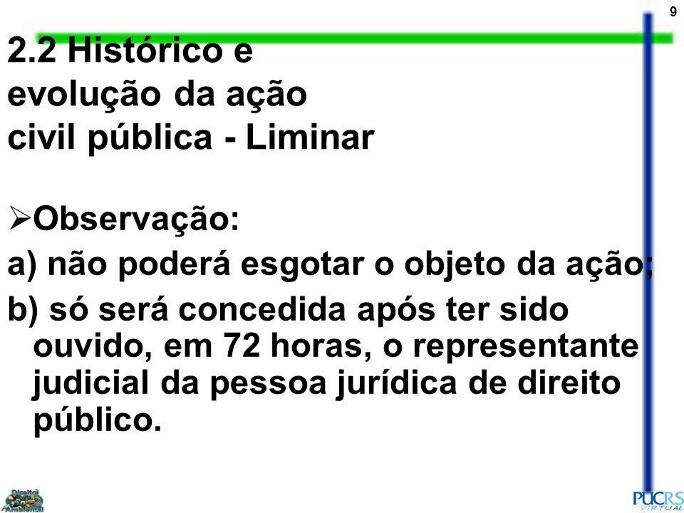 9 2.2 Histórico e evolução da ação civil pública - Liminar Observação: a) não poderá esgotar o objeto da ação; b) só será concedida após ter sido ouvi