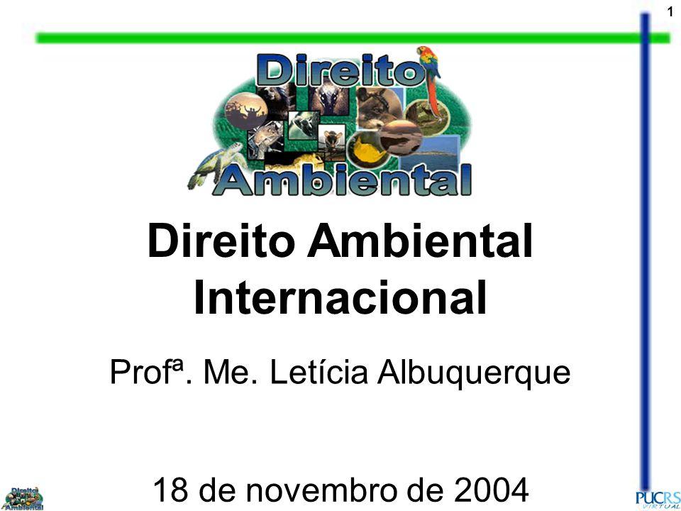 1 Direito Ambiental Internacional Profª. Me. Letícia Albuquerque 18 de novembro de 2004