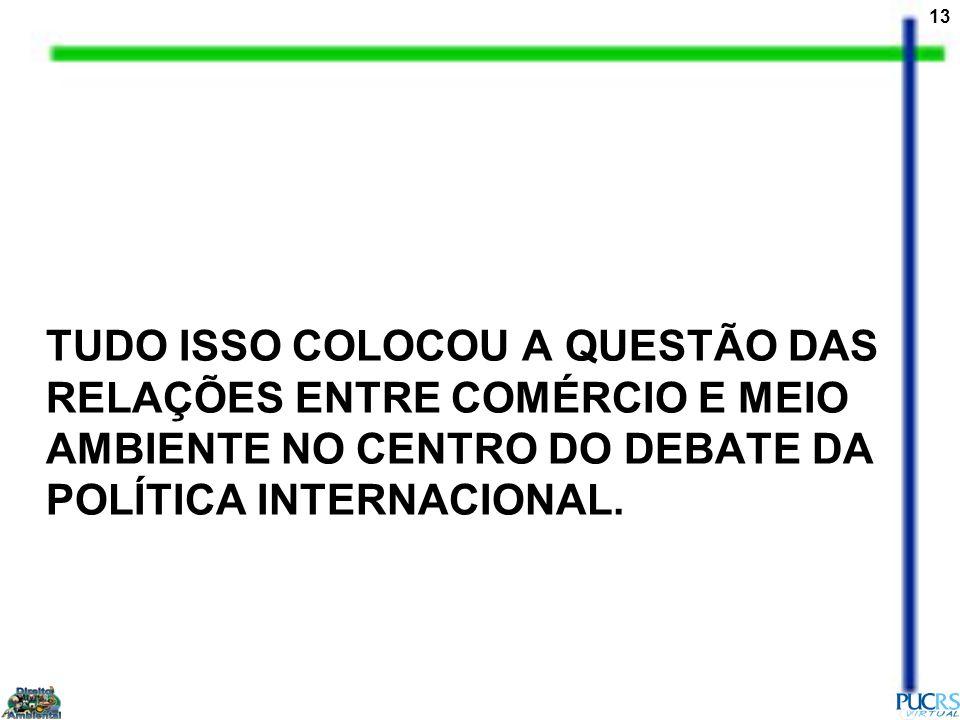 13 TUDO ISSO COLOCOU A QUESTÃO DAS RELAÇÕES ENTRE COMÉRCIO E MEIO AMBIENTE NO CENTRO DO DEBATE DA POLÍTICA INTERNACIONAL.