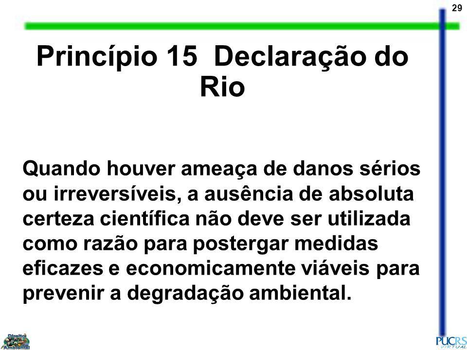 29 Quando houver ameaça de danos sérios ou irreversíveis, a ausência de absoluta certeza científica não deve ser utilizada como razão para postergar m