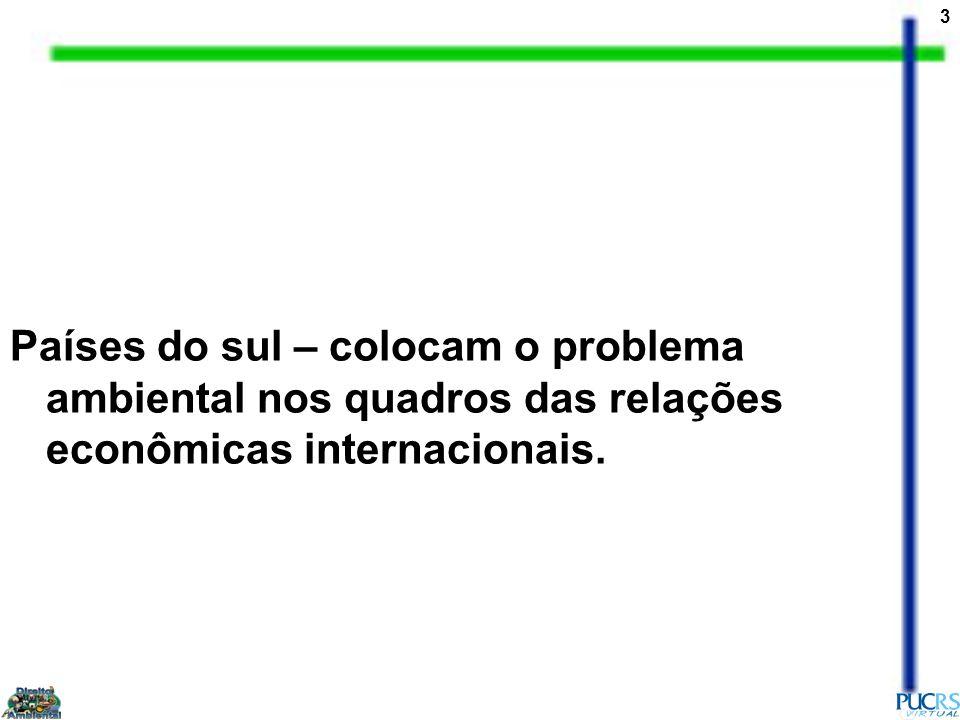 3 Países do sul – colocam o problema ambiental nos quadros das relações econômicas internacionais.