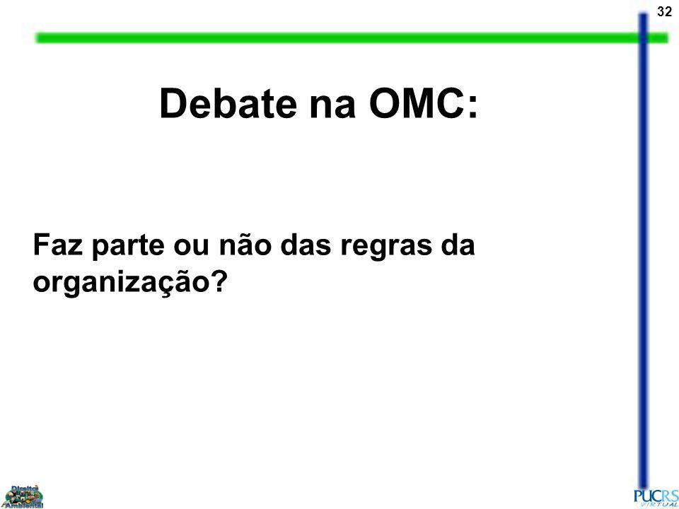 32 Debate na OMC: Faz parte ou não das regras da organização?