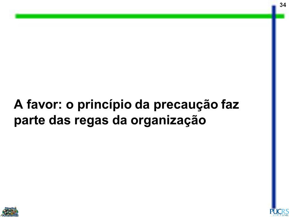 34 A favor: o princípio da precaução faz parte das regas da organização