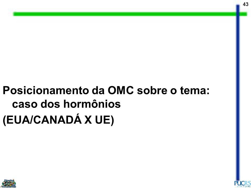 43 Posicionamento da OMC sobre o tema: caso dos hormônios (EUA/CANADÁ X UE)