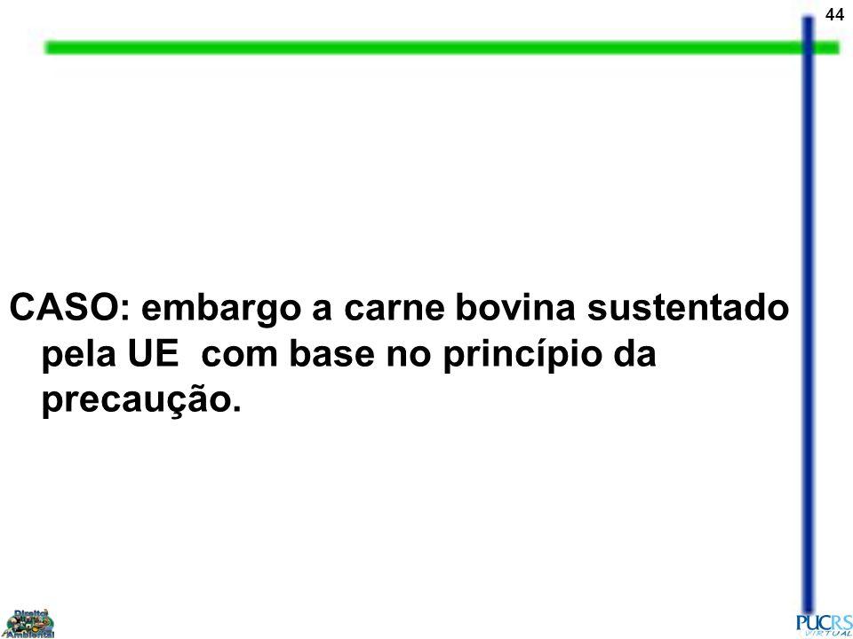 44 CASO: embargo a carne bovina sustentado pela UE com base no princípio da precaução.