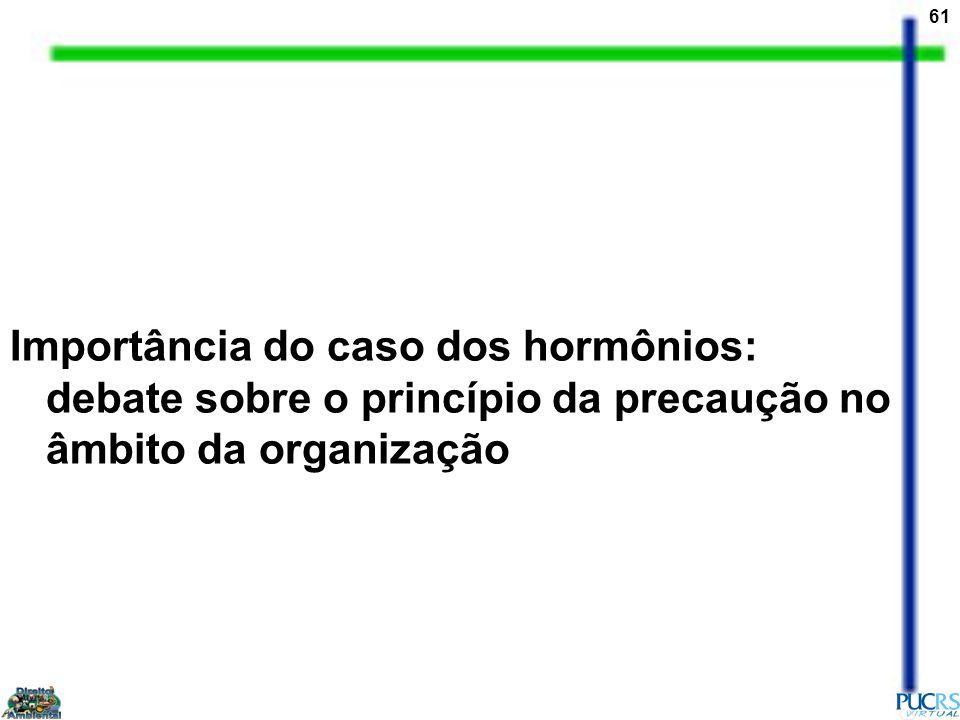 61 Importância do caso dos hormônios: debate sobre o princípio da precaução no âmbito da organização