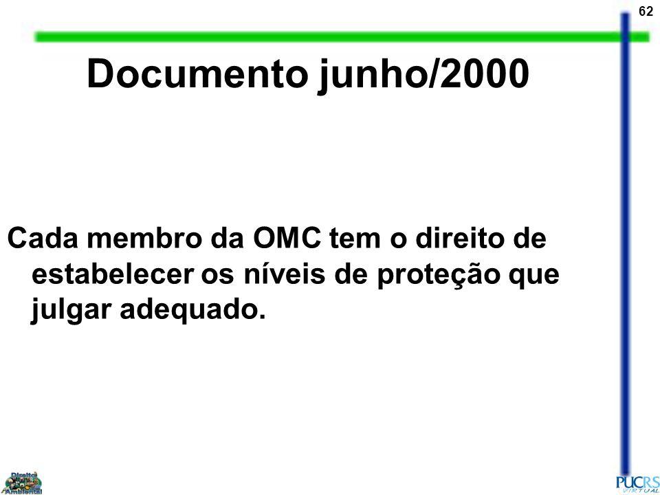 62 Cada membro da OMC tem o direito de estabelecer os níveis de proteção que julgar adequado. Documento junho/2000